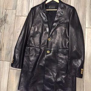 Versace leather coat
